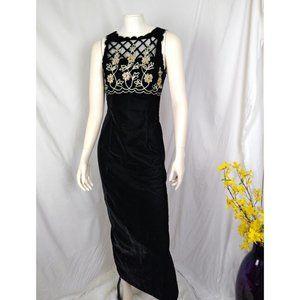 Vtg Scott McClintock Black Velvet Formal Dress